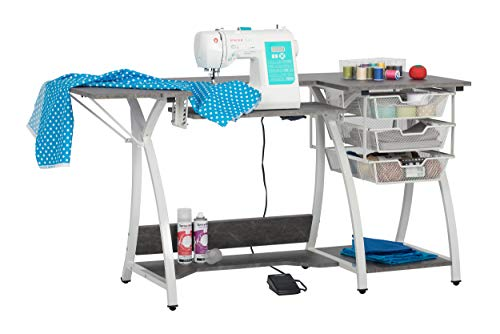 """Sew Ready Pro Stitch Sewing Machine Table with Wire Mesh Drawers, Desk for Hobby, Craft Table and Computer Desk, Home Office in White /Cement Gray , 56.75"""" W"""