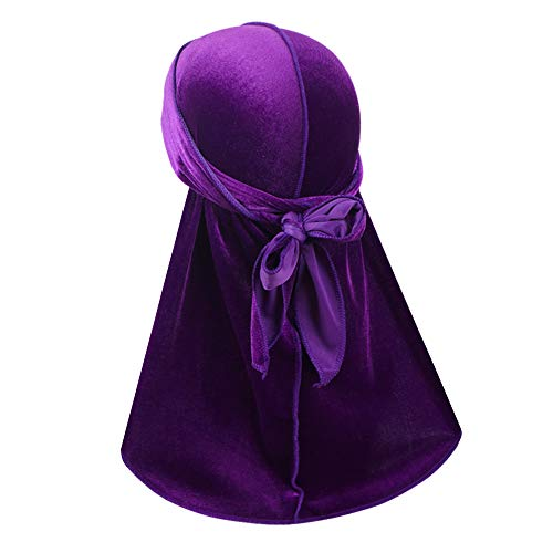 Premium Velvet Wave Durag - Silky Durag Headwraps with Extra Long Tail and Wide Straps for 360 Waves Purple