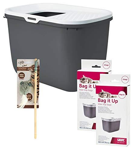 PETGARD Sparpack Katzentoilette HOP IN dunkelgrau + 12 Stück Bag IT UP Beutel + gratis Katzenangel