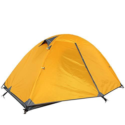 ZXD Tienda de campaña para 2 Personas, Tienda de Camping Ligero Impermeable Anti Viento, Impermeable, Doble Capa, para Caza, Senderismo, Escalada, Viajes,Bright Yellow,Small