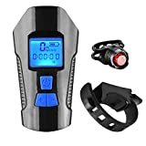 Luzde Bicicleta Bike Light Set with Horn Bicycle Speedometer Odometer USB Rechargeable Front Lamp Taillight Fits All Bicycle Asphoto
