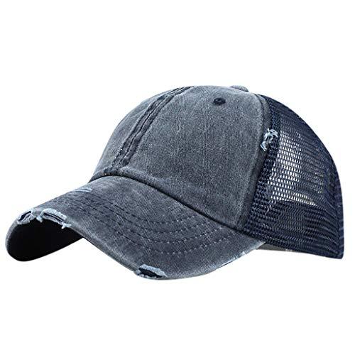 QHJ Baseball Cap, Basecap für Damen, Herren Und Kinder Pferdeschwanz Chaotisch Brötchen Trucker Plain Baseball Visier Cap Unisex Hut Sonnenhut Radhut (Marine)