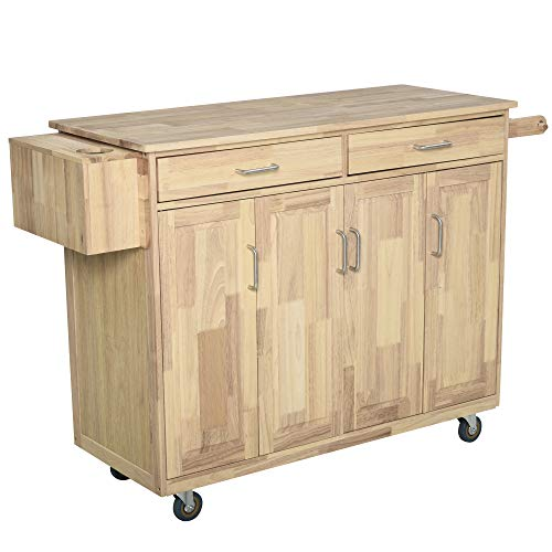 HOMCOM Wooden Rolling Kitchen Island Utility Storage Cart with Drawers, Door Cabinets, and Towel Rack for Dining Room