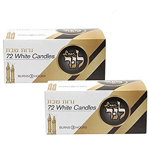 L'ner Candele Shabbat Unscented – Candele religiose lunghe 3 ore – Confezione da 144 Candelieri bianchi per feste, occasioni, feste, compleanni