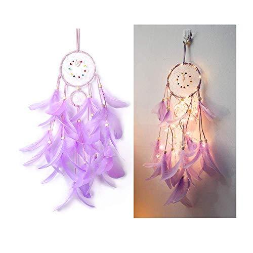 Maygone - Atrapasueños con luces LED, ideal como regalo para niños y niñas, diseño con plumas azules, negras y blancas, accesorio decorativo para dormitorio