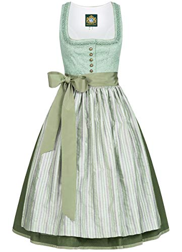 Hammerschmid Damen Trachten-Mode Midi Dirndl Pillersee in Grün traditionell, Größe:38, Farbe:Grün