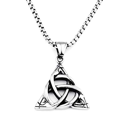 LEERIAN Collar Triángulo Trinidad Irish Celtic Knot Titanium Acero Colgante, Exquisitas Decoraciones de cumpleaños y Regalos para Hombres y Mujeres