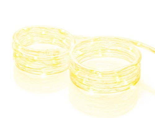 Meilo MRL16-YL 16FT LED Yellow Mini Rope Lights, 16', Clear
