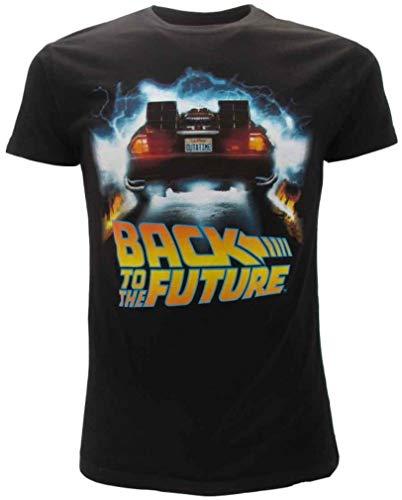 BTTF Retour vers Le Futur T-Shirt Noir Delorean Outatime Original Officiel Back to The Future (L Large)
