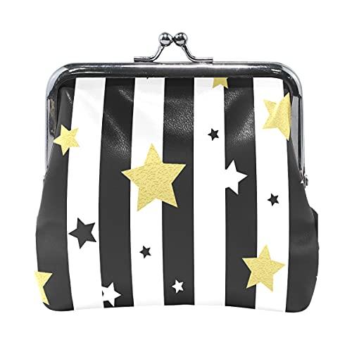 Monedero pequeño negro blanco y dorado estrellas sin costuras para niñas con cierre de beso para mujeres y niñas de 10 x 10 cm