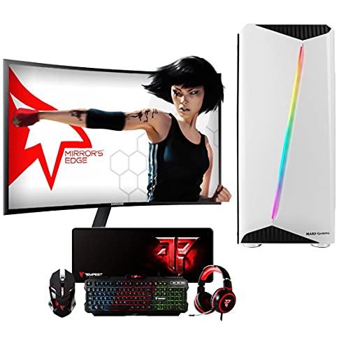 PC Gaming Ordenador de sobremesa Megamania AMD Ryzen 5 1500X 3.7GHz Turbo Quad Core | 16GB DDR4 | SSD 480GB | Gráfica Nvidia GTX 1660 6GB + Monitor LED Curvo 24' + Kit Teclado ratón Regalo