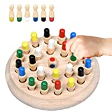 Wooden Memory Chess Stick it Board Game, Color Match Game Learning Chess Children Preschooler Puzzles Intellectual Develop Toys, Montessori Stick Chess Cognitive Games for Kids