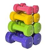 HOMCOM Juego de 8 Mancuernas Hexagonales 4 Pares 4 kg 3 kg 2 kg 1 kg con...
