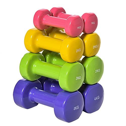 HOMCOM Juego de 8 Mancuernas Hexagonales 4 Pares 4 kg 3 kg 2 kg 1 kg con Revestimiento Pesas para Gimnasio en Casa Ejercicio Entrenamiento Acero Multicolor