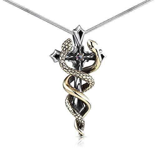 MATERIA Kreuz Kette Silber 925 Messing Schlangen Mystic Topas Kettenanhänger Damen Männer in Etui KA-171_K22-50 cm