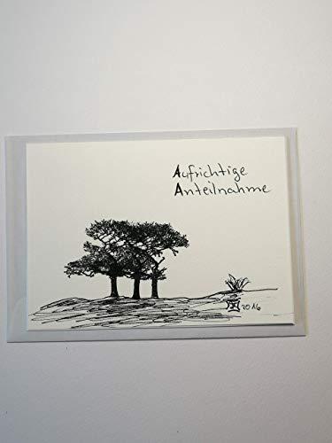 Trauerkarte/Beileidskarte/Kondolenzkarte/Bäume/Klappkarte/Original handgemalt/Unikat/handgestempelt