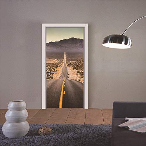 DIOPN Amerikanische Autobahn Route 66 Klassische Szene 3D Mode Aufkleber Kunst Dekor Wand Fenster Tür Aufkleber Removable Poster (Tür sticker77* 200 cm)