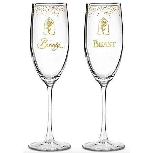 Enchanting Disney Belle Wedding Toasting Glasses