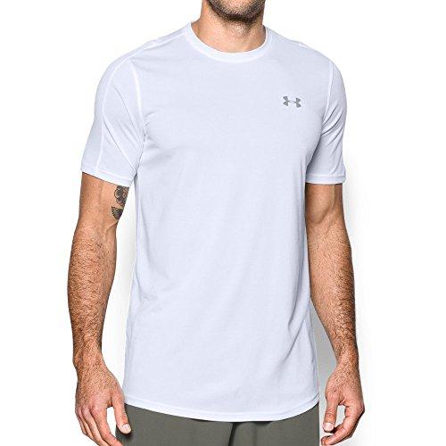 Under Armour Herren Raid Longline Kurzarm-T-Shirt, Herren, White (100)/Overcast Gray, Medium