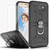 Galaxy J7 Prime Case J7 Sky Pro/J7 V/Halo/J7 Perx Case with HD Screen Protector YmhxcY 360 Degree Rotating Ring Kickstand Holder Dual Layers of Shockproof Phone Case for Galaxy J7 2017-ZS Black
