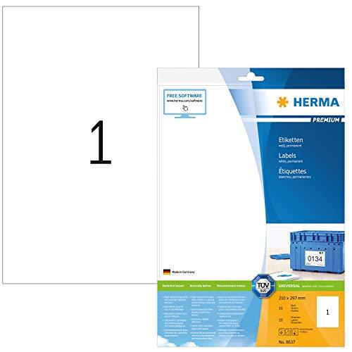 HERMA 8637 Universal Etiketten DIN A4 groß (210 x 297 mm, 10 Blatt, Papier, matt) selbstklebend, bedruckbar, permanent haftende Adressaufkleber, 10 Klebeetiketten, weiß