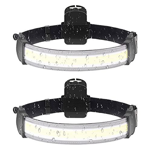 LED Headlamp Flashlight 220° Illumination Wide-Beam Headlamp 2000 Lumens Lightweight Design, Weatherproof, Battery Powered Camping, Running, Hiking Head Lamp for Adults and Kids -2 Packs