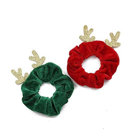 BinaryABC Christmas Hair Scrunchies Hair Bands Hair Ties Ropes Ponytail Holders,Christmas Hair Accessories,Christmas Decorations,2Pcs