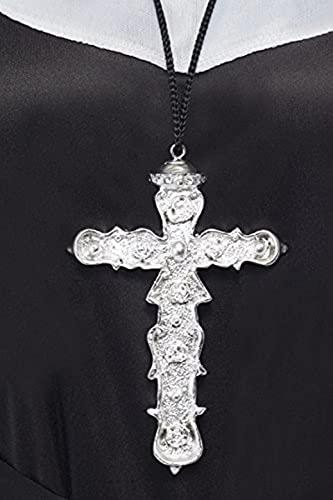 Cross-21291 Colgante de Cruz ornamentada, Plateada, en cordón Negro, Color Plata, No es Applicable (Smiffy'S 21291)