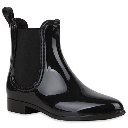 Bequeme Stiefeletten Damen Chelsea Boots Gummistiefel Lack Schuhe 118462 Schwarz 36 Flandell