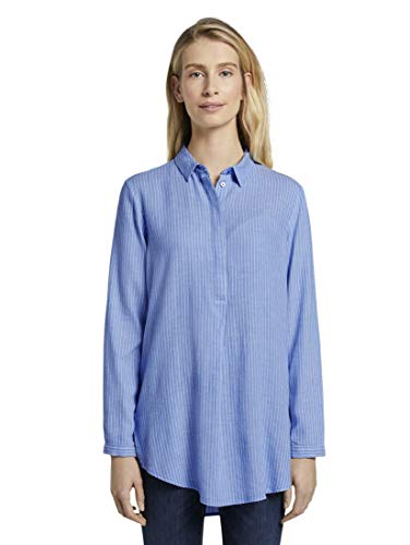 TOM TAILOR Damen Blusen, Shirts & Hemden Longbluse Blue White Vertical Stripe,36