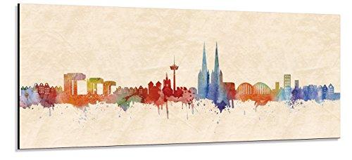 Acrylglas Wandbild Köln Skyline Panorama - Acrylglas mit Alu-dibond-Aufhängesystem - Farbe (div. Größen) - Kunst Druck auf Acrylglas 20x50cm
