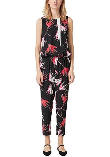 s.Oliver BLACK LABEL Damen 11.903.85.5552 Jumpsuit, Schwarz (Black AOP 99a2), (Herstellergröße: 40)