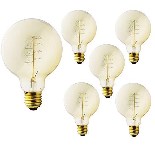 Ampoule Edison vintage E27 40 W - Ampoule décorative Big Globe - Blanc chaud 2200 K - Intensité variable - Idéale pour les nostalgies et les rétros - Filament spirale - 220 V CA - Modèle G95