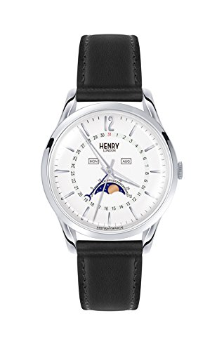 Henry London Unisex Mondphase Quarz Uhr mit Leder Armband HL39-LS-0083