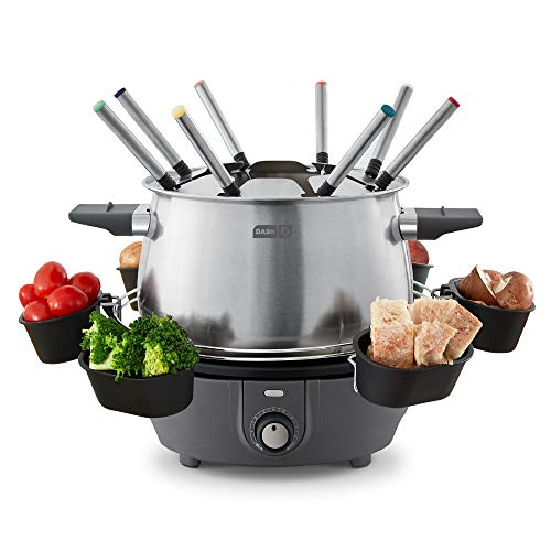 Dash Deluxe Stainless Steel Fondue Maker with Temperature Control, Fondue Forks, Cups, and Rack, with Recipe Guide Included, 3-Quart, Non-Stick – Grey