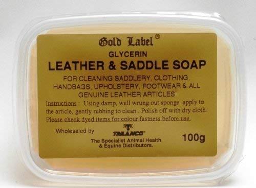 Gold Label Zadelzeep, 100g - Glycerine zeep te gebruiken voor het reinigen van zadels, kleding, handtassen, bekleding, schoeisel en alle echt lederen producten, Helder