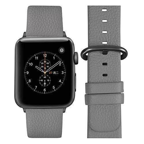 Fullmosa Cinturino Apple Watch 38 mm/40 mm, Cinturino Pelle Compatibile con Apple Watch Serie SE 6 5 4 3 2 1, Sport, Nike+, Hermès, Edition, Grigio + Fibbia Grigia fumé