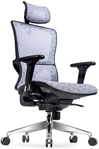 THBEIBEI Silla de oficina giratoria con respaldo alto de malla giratoria silla de ordenador barandilla resistente marco de soporte de malla transpirable, peso 250 kg, 4 colores (color: negro gris)