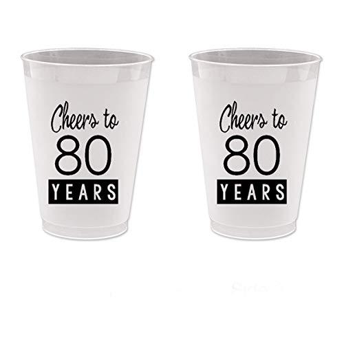 80th Birthday Frost Flex Plastic Cups