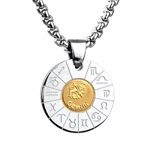 COPAUL Schmuck Edelstahl Tierkreis Sternzeichen Zwillinge Anhänger Kette Halskette für Herren Damen, Gold Silber