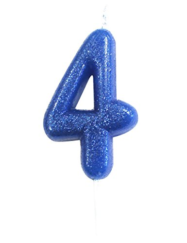 Creative Party AHC30/4 Blue Glitter Moulded Number 4 Pick Candle, 2.7'-1 Pc