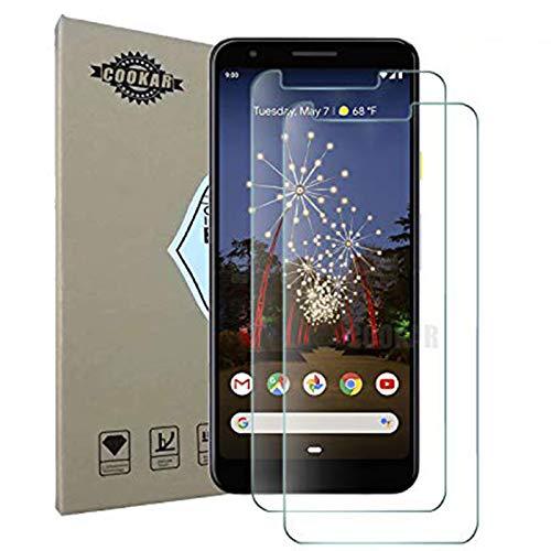 cookaR Google Pixel 3a Panzerglas Schutzfolie, Hülle Fre&lich 9H Festigkeitgrad, Touch Kompatibel, Anti-Kratzen Schutzfolie für Google Pixel 3a Smartphone, 2 Stück