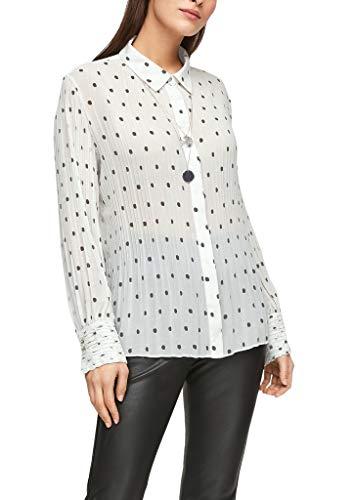 s.Oliver BLACK LABEL Damen Plissierte Bluse mit Print Cream AOP dots 44