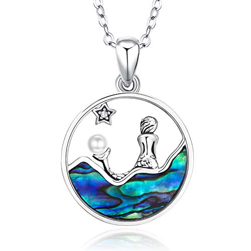S925 Sterling Silver Cute Mermaid Necklace Abalone Shell Round Pendant Mermaid Jewellery Birthday Gift for Girls Women