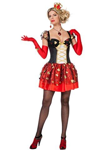 Karneval-Klamotten Herz-Königin Kostüm Damen Herzkönigin Kleid Königin der Herzen Spielkarte-n-Alice im Wunderland Damen-Kostüm