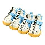 Feidaeu 4 Unids/Set Botas de Nieve para Mascotas Zapatos para Perros pequeños Deporte de Invierno Pies Transpirables Antideslizantes Diseño de Cremallera Cove Zapatos de Lluvia para Cachorros
