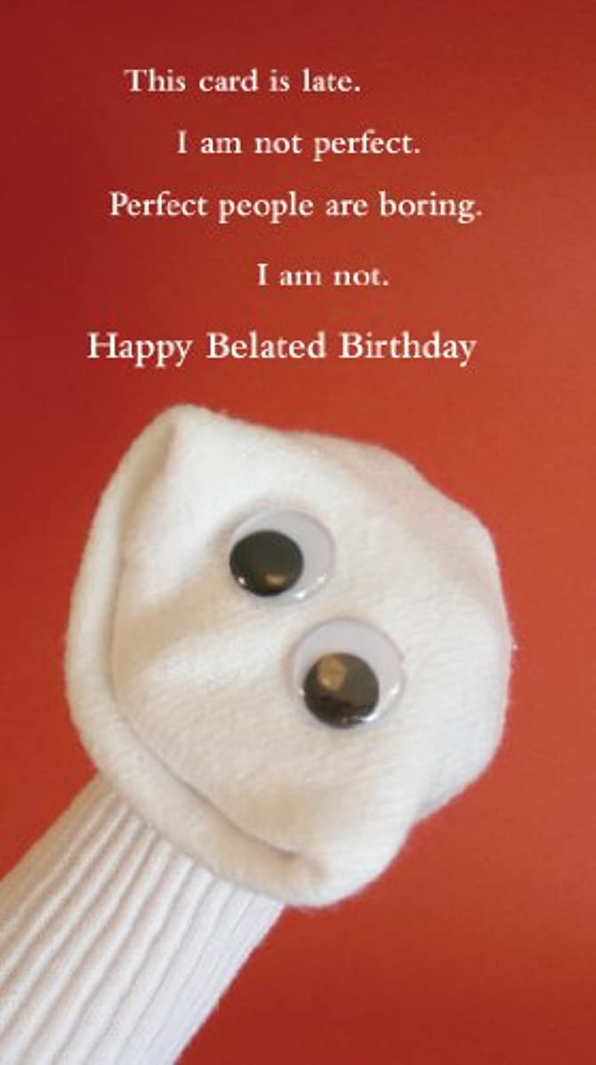 Quiplip Belated Birthday Sock (6-Pack) Greeting Cards