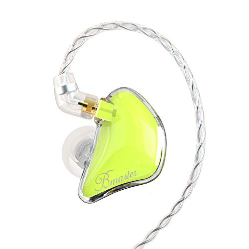 BASN Bmaster Noise Isolating in Ear Monitor Earphones, 1BA+2DD Hybrid Balanced Armature Driver IEM Headphones with Two Detachable MMCX Cables (Yellow)