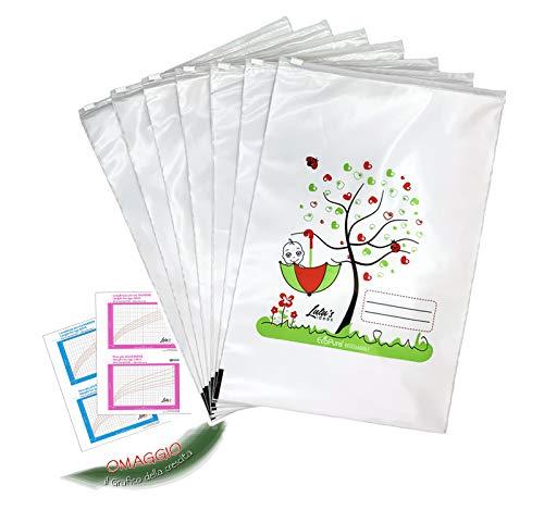 Lulu's Ideas 7 bolsitas de regalo para recién nacido de hospital, fabricadas en Italia, 24,5 x 37 cm, cierre cursor hermético, biodegradable, sin olor, efecto perlado, bolsas para cambio de bebé