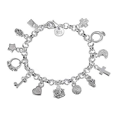 Demarkt Pulsera de mujer de moda con trece piezas colgantes de plata, 1 pieza